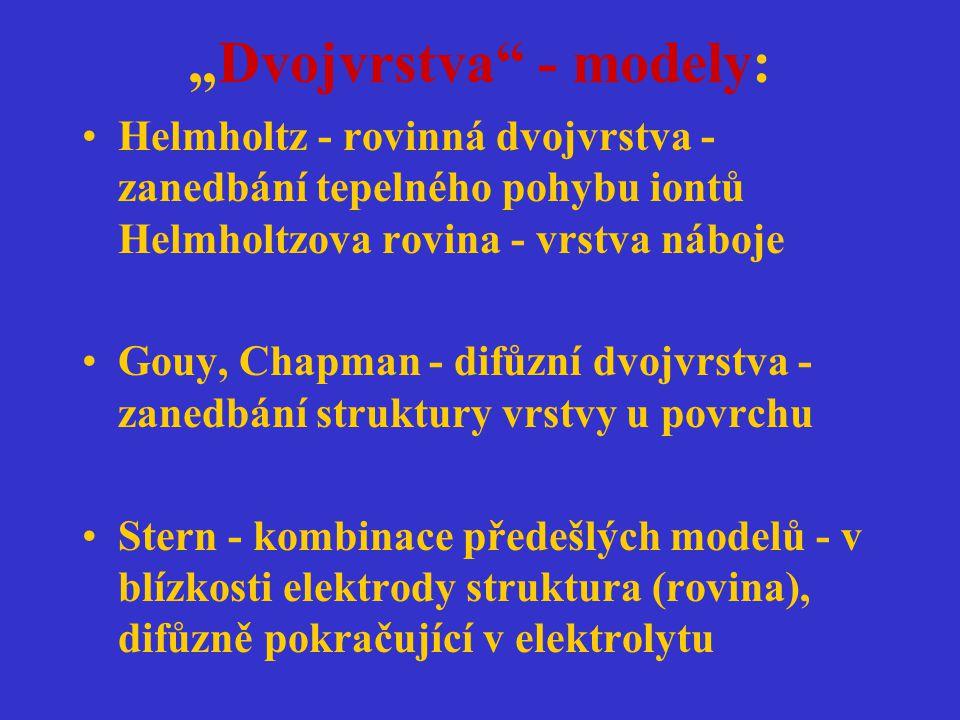 """Dvojvrstva"" - modely: Helmholtz - rovinná dvojvrstva - zanedbání tepelného pohybu iontů Helmholtzova rovina - vrstva náboje Gouy, Chapman - difůzní d"