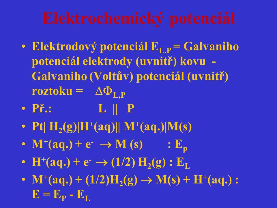 Elektrochemický potenciál Elektrodový potenciál E L,P = Galvaniho potenciál elektrody (uvnitř) kovu - Galvaniho (Voltův) potenciál (uvnitř) roztoku =
