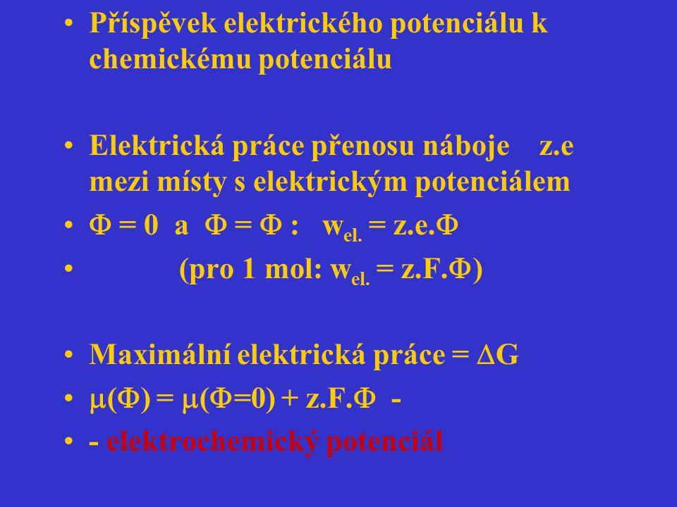 Příspěvek elektrického potenciálu k chemickému potenciálu Elektrická práce přenosu náboje z.e mezi místy s elektrickým potenciálem  = 0 a  =  : w e