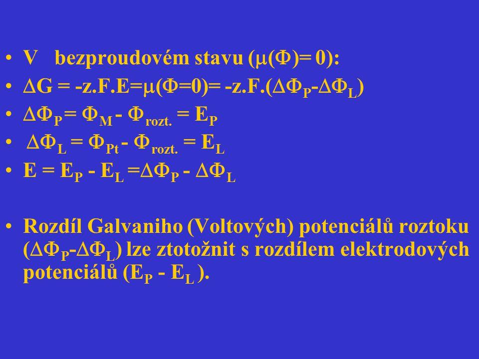 V bezproudovém stavu (  (  )= 0):  G = -z.F.E=  (  =0)= -z.F.(  P -  L )  P =  M -  rozt. = E P  L =  Pt -  rozt. = E L E = E P - E L