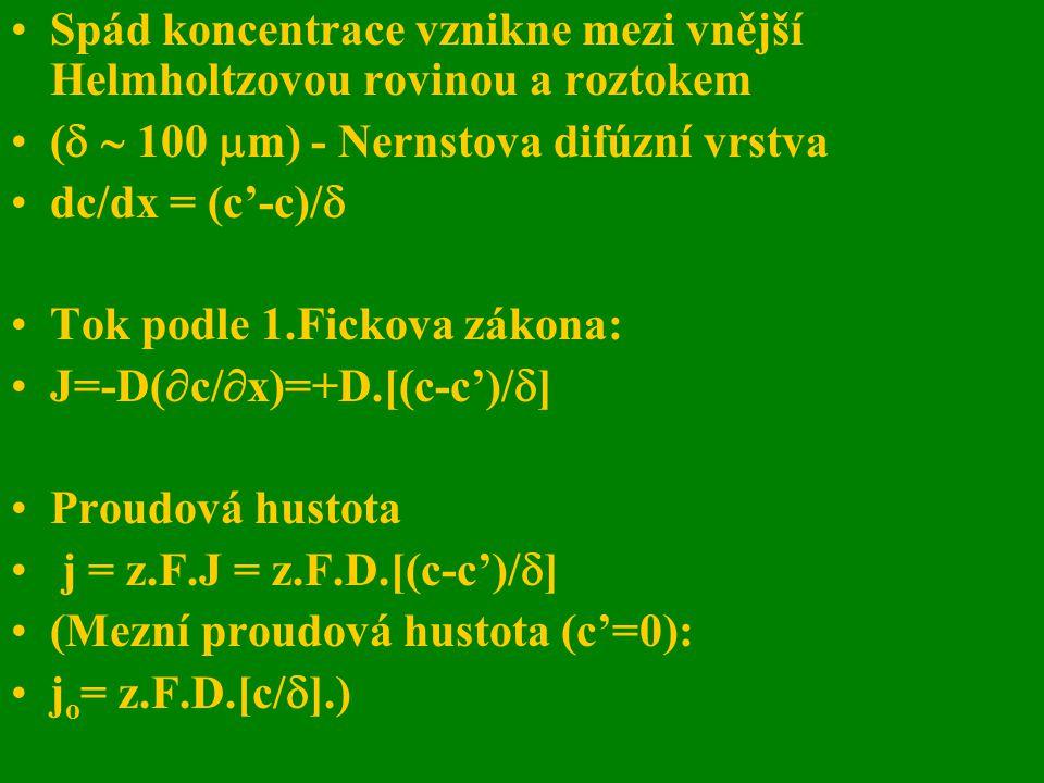 Spád koncentrace vznikne mezi vnější Helmholtzovou rovinou a roztokem (   100  m) - Nernstova difúzní vrstva dc/dx = (c'-c)/  Tok podle 1.Fickova
