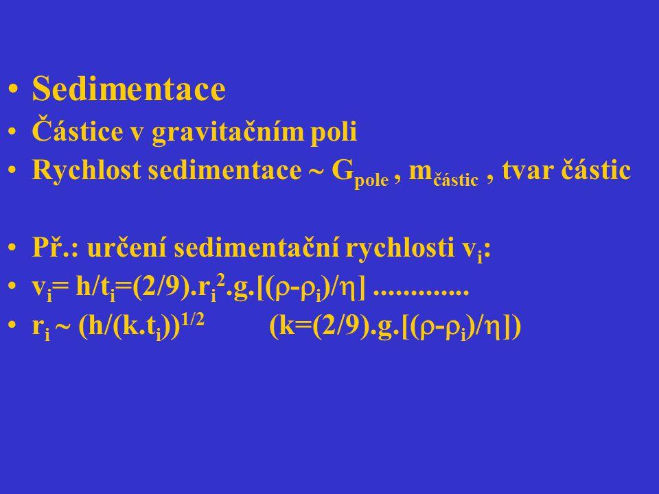 Sedimentace Částice v gravitačním poli Rychlost sedimentace  G pole, m částic, tvar částic Př.: určení sedimentační rychlosti v i : v i = h/t i =(2/9
