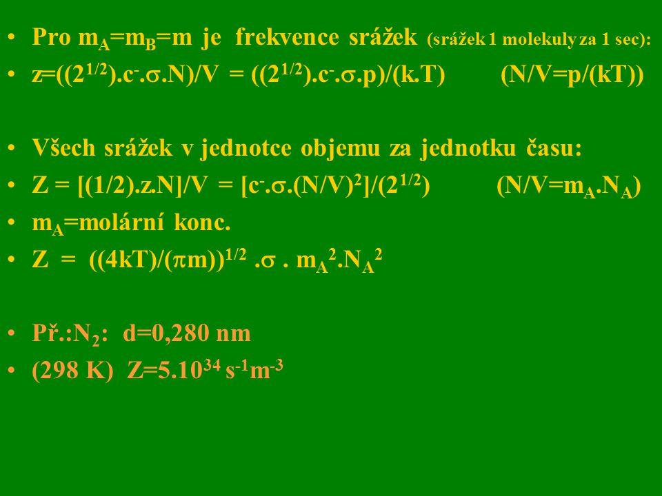 Pro m A =m B =m je frekvence srážek (srážek 1 molekuly za 1 sec): z=((2 1/2 ).c -. .N)/V = ((2 1/2 ).c -. .p)/(k.T) (N/V=p/(kT)) Všech srážek v jedn