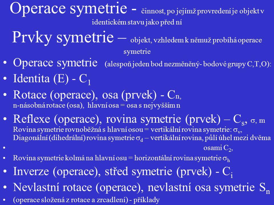 Operace symetrie - činnost, po jejímž provredení je objekt v identickém stavu jako před ní Prvky symetrie – objekt, vzhledem k němuž probíhá operace s