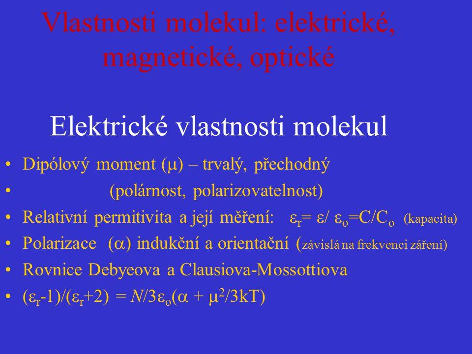 Vlastnosti molekul: elektrické, magnetické, optické Elektrické vlastnosti molekul Dipólový moment (  ) – trvalý, přechodný (polárnost, polarizovateln