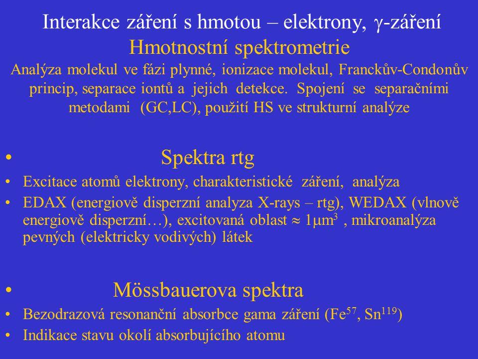 Interakce záření s hmotou – elektrony,  -záření Hmotnostní spektrometrie Analýza molekul ve fázi plynné, ionizace molekul, Franckův-Condonův princip,