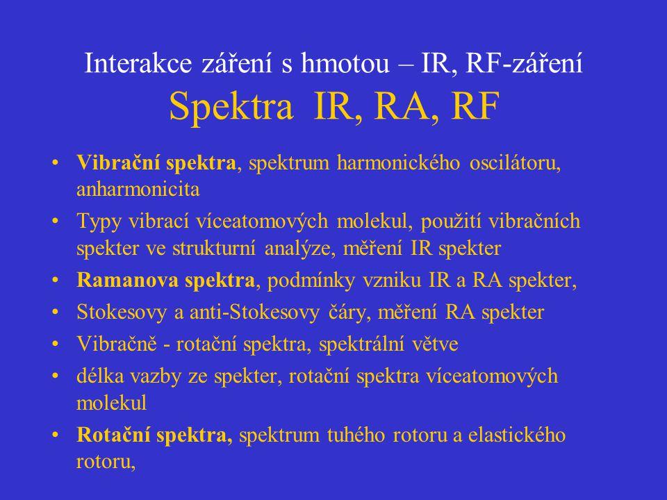 Interakce záření s hmotou – IR, RF-záření Spektra IR, RA, RF Vibrační spektra, spektrum harmonického oscilátoru, anharmonicita Typy vibrací víceatomov