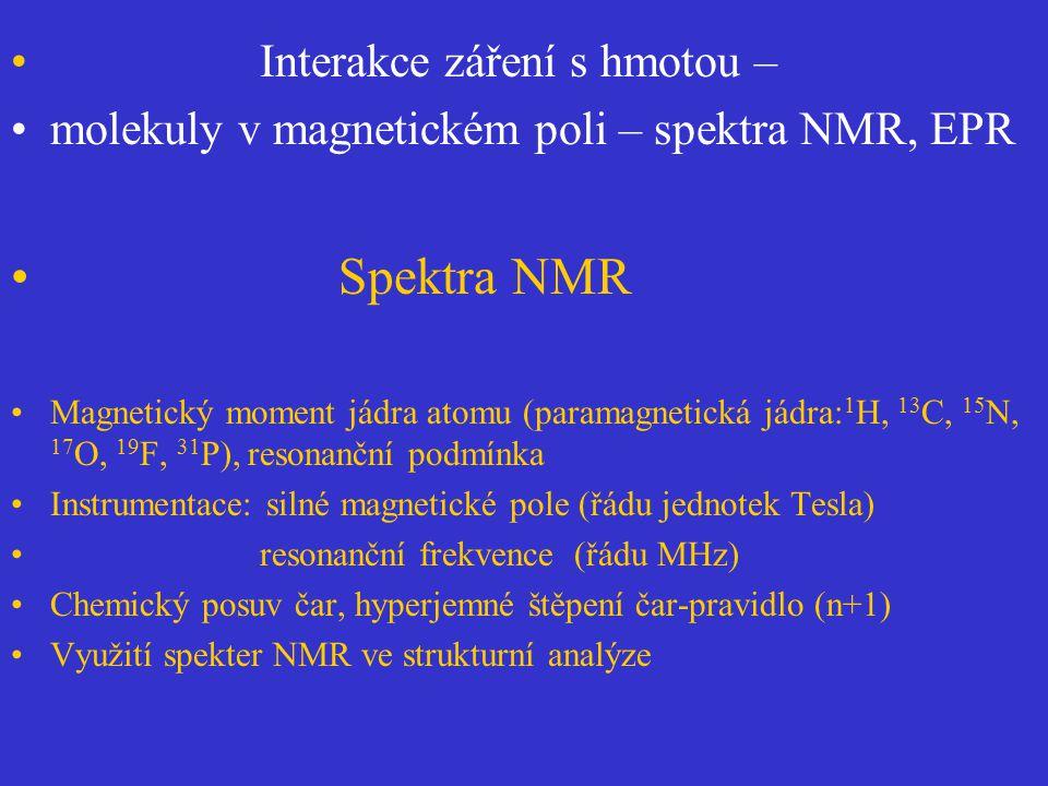Interakce záření s hmotou – molekuly v magnetickém poli – spektra NMR, EPR Spektra NMR Magnetický moment jádra atomu (paramagnetická jádra: 1 H, 13 C,