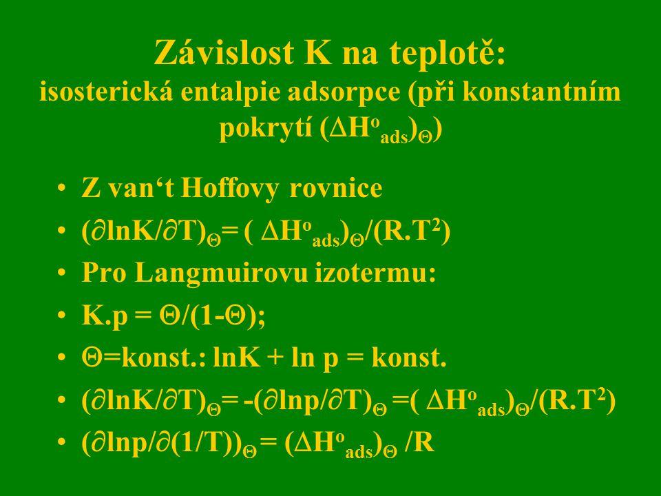 Závislost K na teplotě: isosterická entalpie adsorpce (při konstantním pokrytí (  H o ads )  ) Z van't Hoffovy rovnice (  lnK/  T)  = (  H o ads