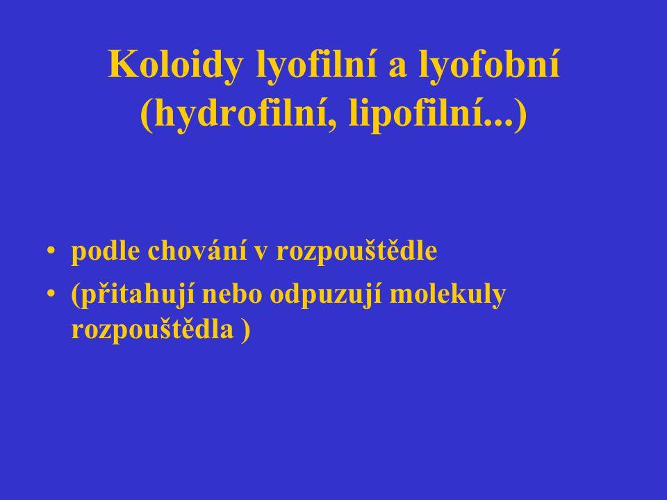 Koloidy lyofilní a lyofobní (hydrofilní, lipofilní...) podle chování v rozpouštědle (přitahují nebo odpuzují molekuly rozpouštědla )