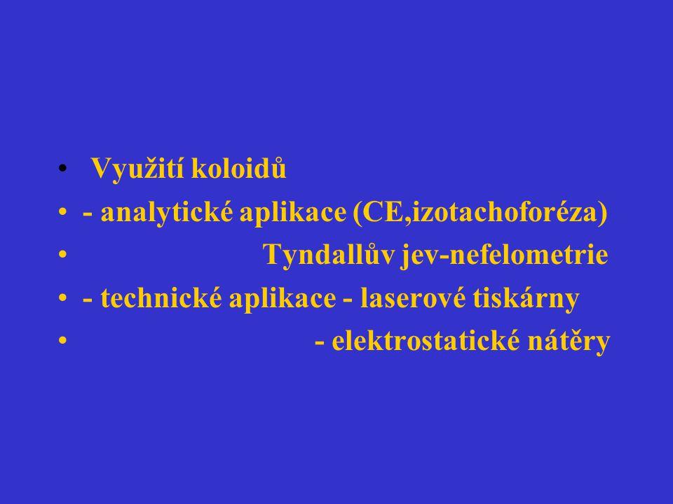 Využití koloidů - analytické aplikace (CE,izotachoforéza) Tyndallův jev-nefelometrie - technické aplikace - laserové tiskárny - elektrostatické nátěry