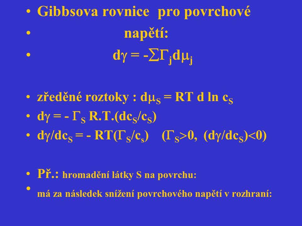 Gibbsova rovnice pro povrchové napětí: d  = -  j d  j zředěné roztoky : d  S = RT d ln c S d  = -  S R.T.(dc S /c S ) d  /dc S = - RT(  S /c
