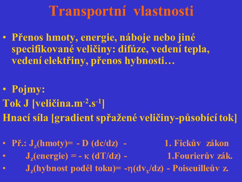 Transportní vlastnosti Přenos hmoty, energie, náboje nebo jiné specifikované veličiny: difúze, vedení tepla, vedení elektřiny, přenos hybnosti… Pojmy: