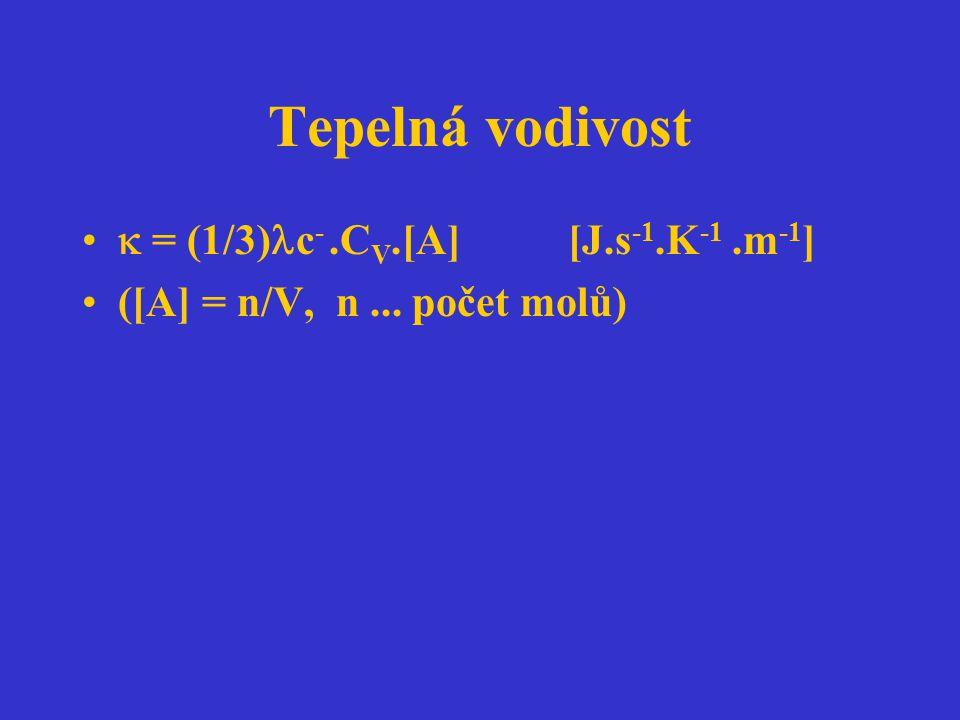 Tepelná vodivost  = (1/3) c -.C V.[A] [J.s -1.K -1.m -1 ] ([A] = n/V, n... počet molů)