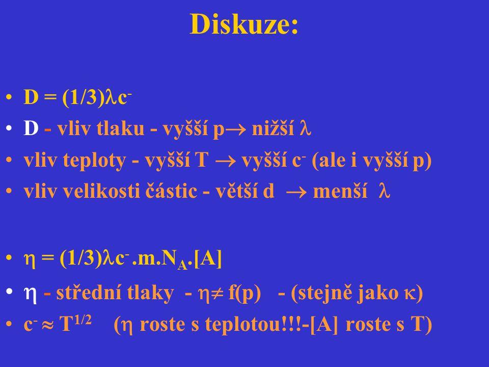 Diskuze: D = (1/3) c - D - vliv tlaku - vyšší p  nižší vliv teploty - vyšší T  vyšší c - (ale i vyšší p) vliv velikosti částic - větší d  menší  =