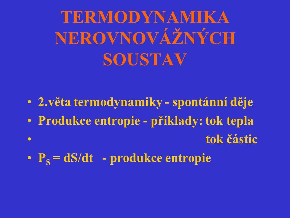 TERMODYNAMIKA NEROVNOVÁŽNÝCH SOUSTAV 2.věta termodynamiky - spontánní děje Produkce entropie - příklady: tok tepla tok částic P S = dS/dt - produkce e