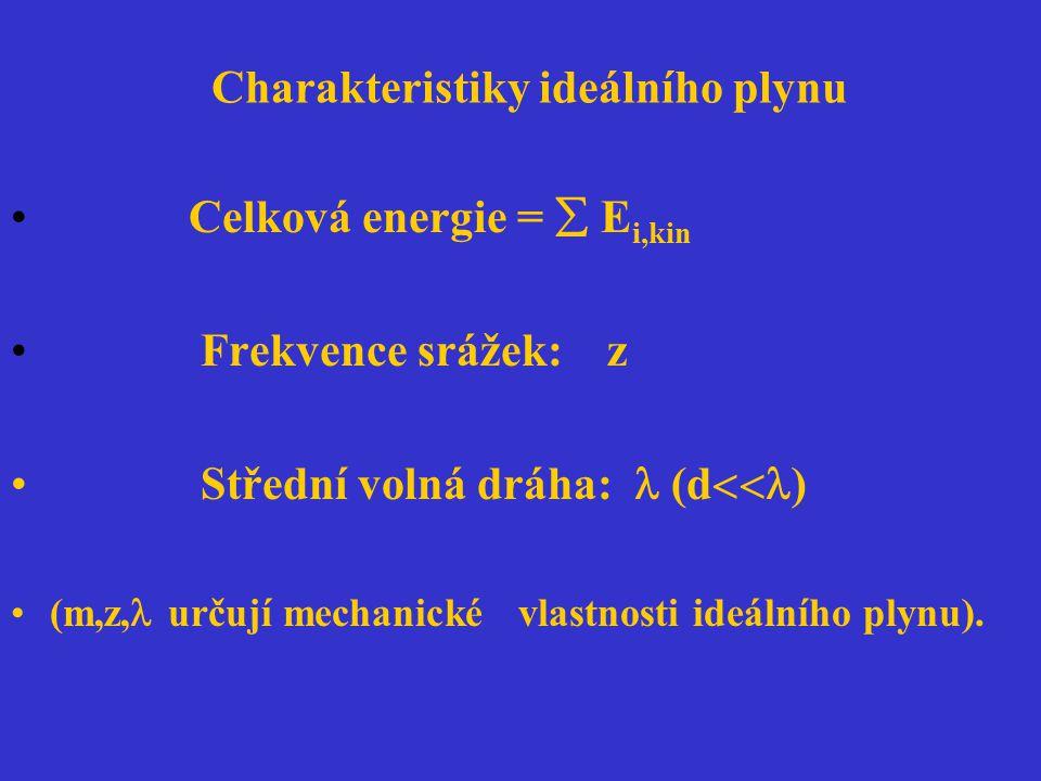 Maxwellovo rozdělení rychlostí: f(v) = 4  v 2 (m/(2  kT)) 3/2 exp(-mv 2 /(2kT)) Nejpravděpodobnější rychlost c * = ((2kT)/m) 1/2 Průměrná rychlost c - = ((8kT)/(  m)) 1/2 (1,128.c*) Střední kvadratická rychlost c= ((3kT)/m) 1/2 (1,225.c * )