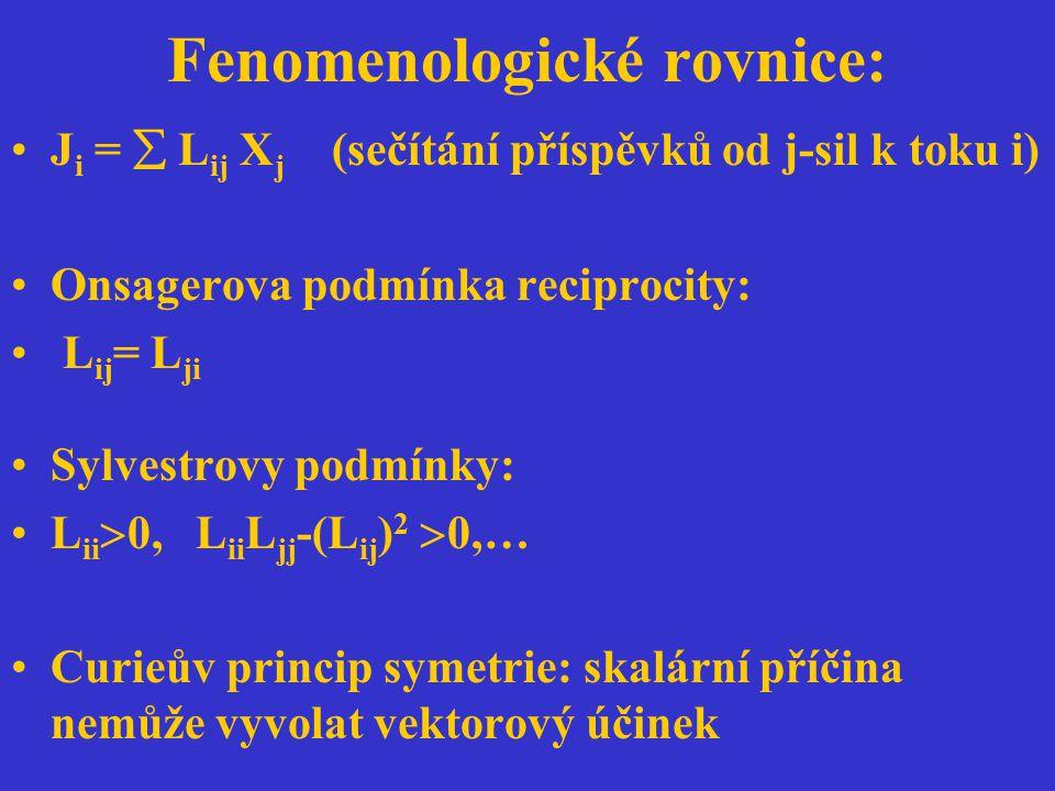 Fenomenologické rovnice: J i =  L ij X j (sečítání příspěvků od j-sil k toku i) Onsagerova podmínka reciprocity: L ij = L ji Sylvestrovy podmínky: L