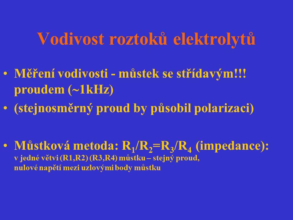 Vodivost roztoků elektrolytů Měření vodivosti - můstek se střídavým!!! proudem (  1kHz) (stejnosměrný proud by působil polarizaci) Můstková metoda: R