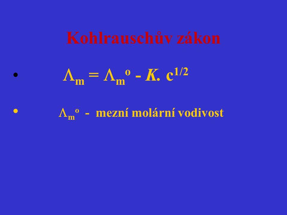 Kohlrauschův zákon  m =  m o - K. c 1/2  m o - mezní molární vodivost