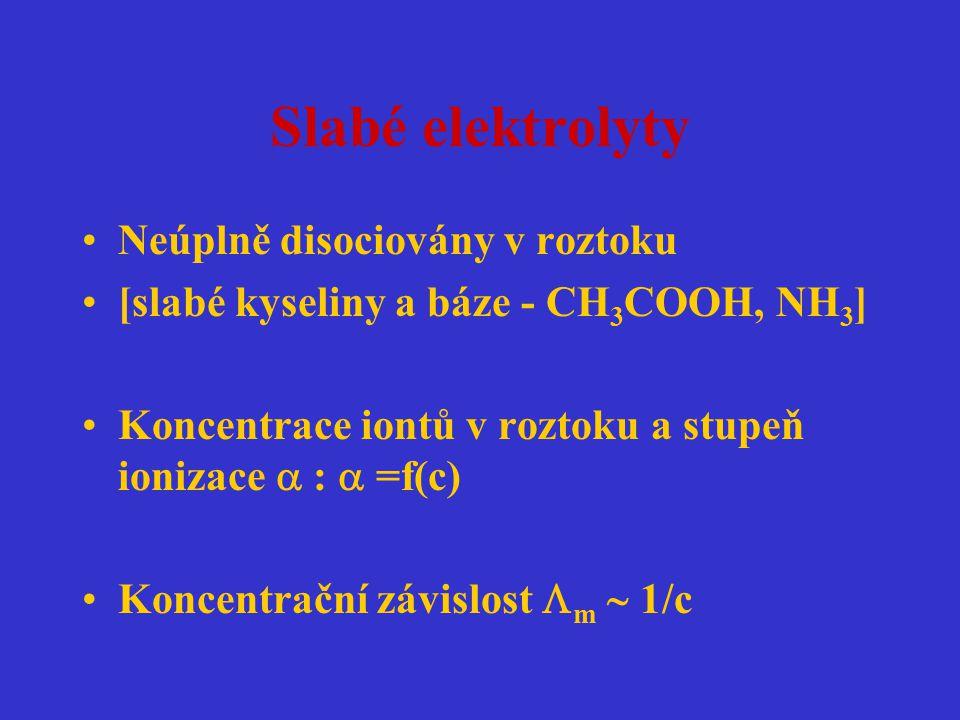Slabé elektrolyty Neúplně disociovány v roztoku [slabé kyseliny a báze - CH 3 COOH, NH 3 ] Koncentrace iontů v roztoku a stupeň ionizace  :  =f(c) K