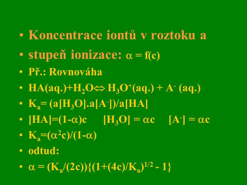 Koncentrace iontů v roztoku a stupeň ionizace:  = f(c) Př.: Rovnováha HA(aq.)+H 2 O  H 3 O + (aq.) + A - (aq.) K a = (a[H 3 O].a[A - ])/a[HA] [HA]=(