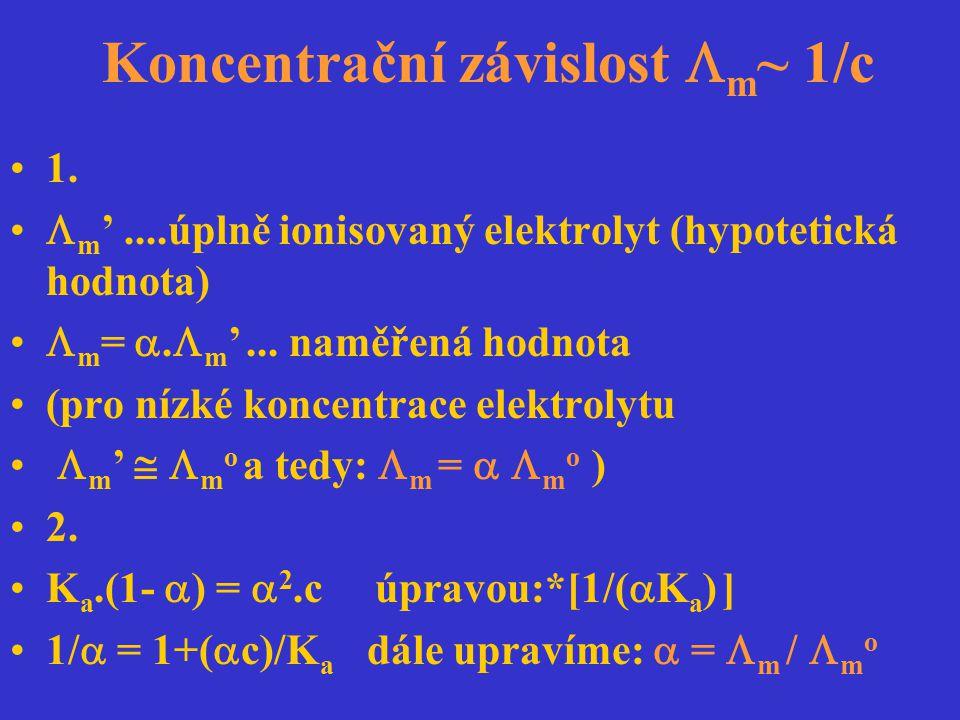Koncentrační závislost  m ~ 1/c 1.  m '....úplně ionisovaný elektrolyt (hypotetická hodnota)  m = .  m '... naměřená hodnota (pro nízké koncentra