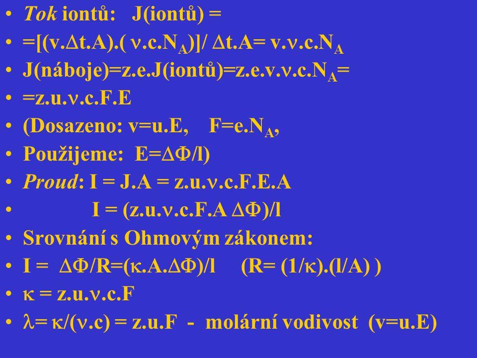 Tok iontů: J(iontů) = =[(v.  t.A).(.c.N A )]/  t.A= v..c.N A J(náboje)=z.e.J(iontů)=z.e.v..c.N A = =z.u..c.F.E (Dosazeno: v=u.E, F=e.N A, Použijeme: