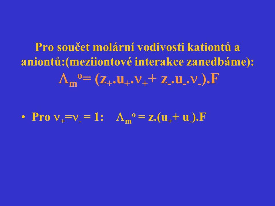 Pro součet molární vodivosti kationtů a aniontů:(meziiontové interakce zanedbáme):  m o = (z +.u +. + + z -.u -. - ).F Pro + = - = 1:  m o = z.(u +