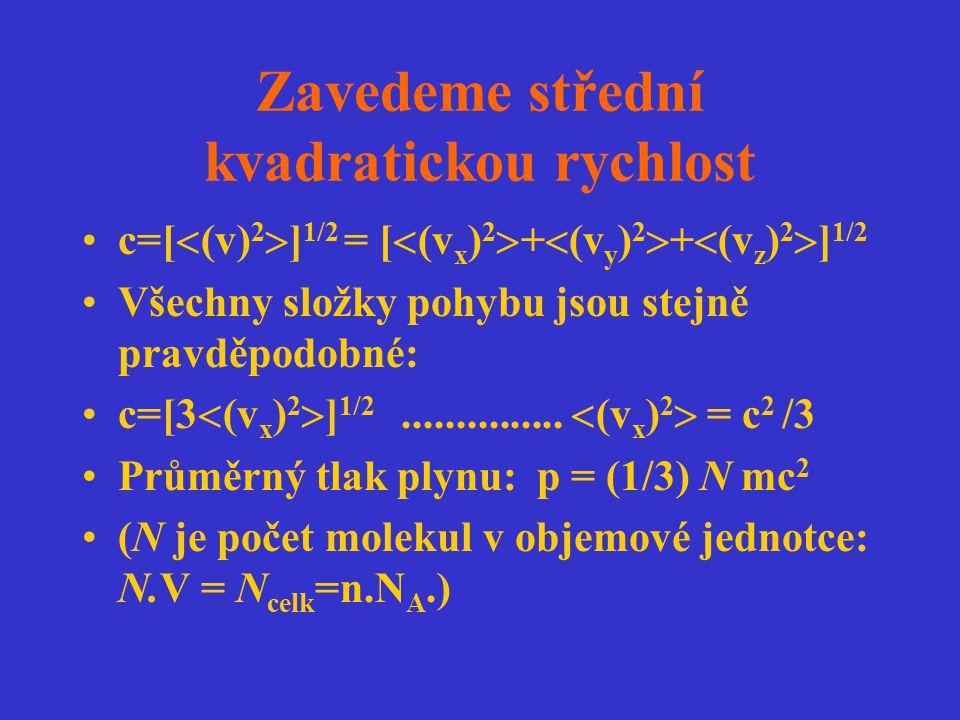 Ideální plyn splňuje stavovou rovnici: pV=nN A kT = (1/3)nN A mc 2 Odtud c=(3kT/m) 1/2 = (3RT/M) 1/2