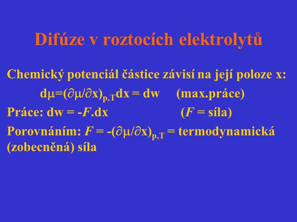 Difúze v roztocích elektrolytů Chemický potenciál částice závisí na její poloze x: d  =(  /  x) p,T dx = dw (max.práce) Práce: dw = -F.dx (F = síl