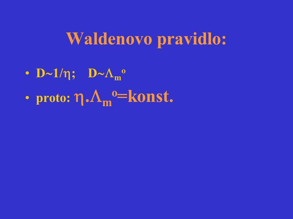 Waldenovo pravidlo: D  1/  ; D  m o proto: .  m o =konst.