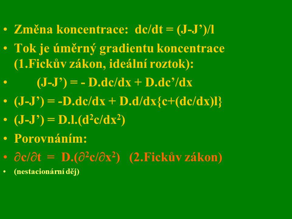 Změna koncentrace: dc/dt = (J-J')/l Tok je úměrný gradientu koncentrace (1.Fickův zákon, ideální roztok): (J-J') = - D.dc/dx + D.dc'/dx (J-J') = -D.dc
