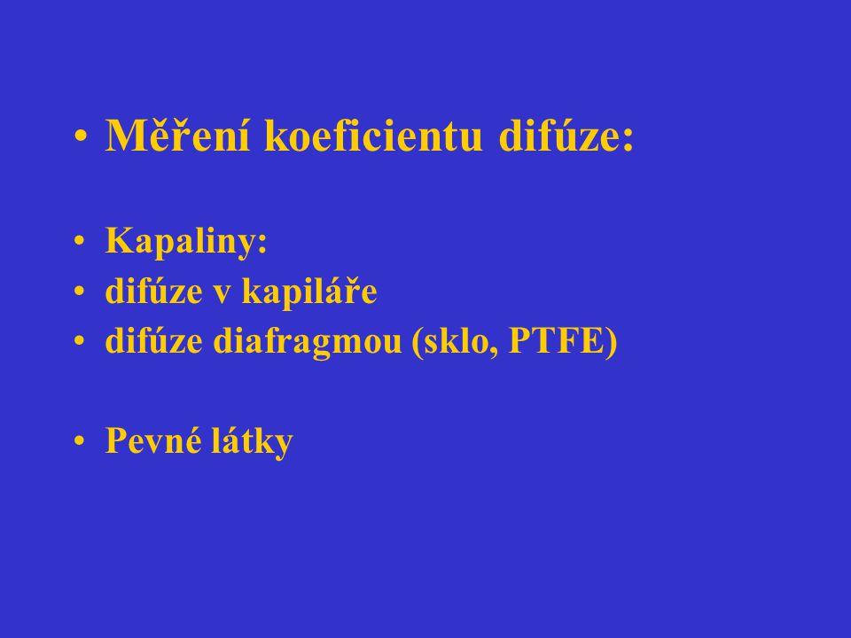 Měření koeficientu difúze: Kapaliny: difúze v kapiláře difúze diafragmou (sklo, PTFE) Pevné látky