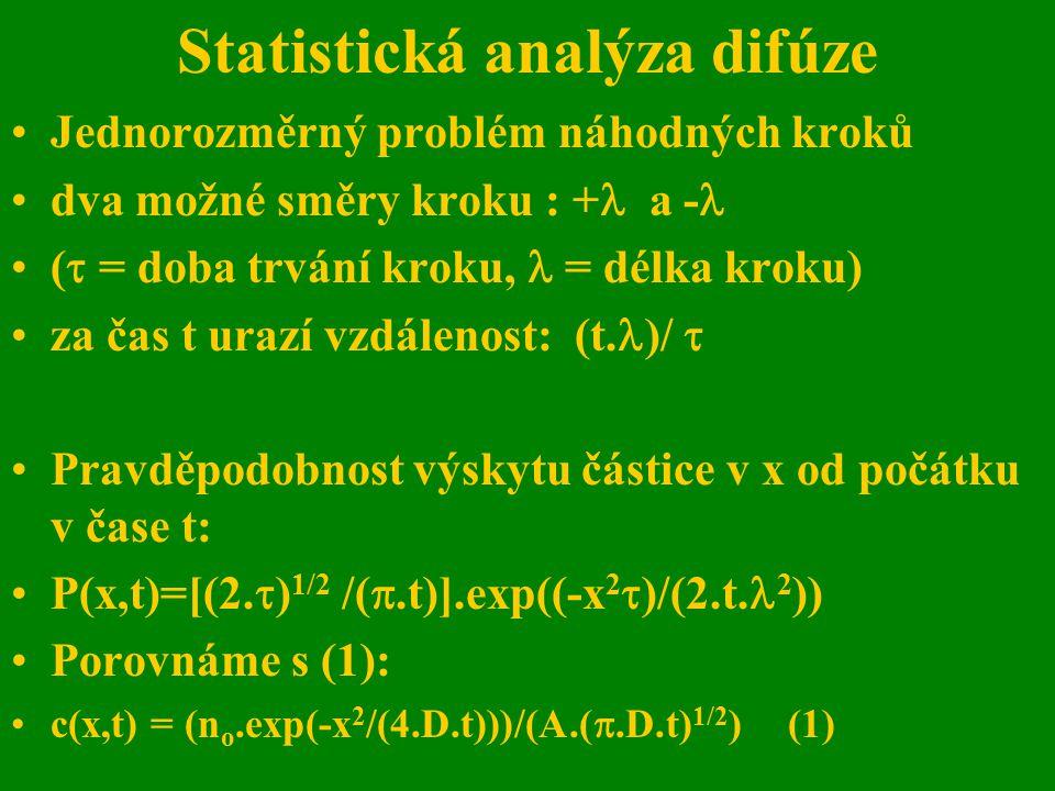 Statistická analýza difúze Jednorozměrný problém náhodných kroků dva možné směry kroku : + a - (  = doba trvání kroku, = délka kroku) za čas t urazí