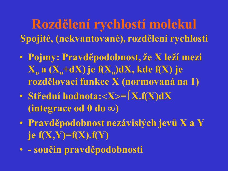 Maxwellovo-Boltzmannovo rozdělení rychlostí molekul Rozdělení složek rychlosti molekul ideálního plynu (podobnost s rozdělením energií ve statistické termodynamice): Složky rychlosti jsou nezávislé: f(v x,v y,v z ) = f(v x ).f(v y ).f(v z ) f - závisí na v 2 = (v x 2 + v y 2 + v z 2 ) f(v) = f(v x 2 + v y 2 + v z 2 )=f(v x ).f(v y ).f(v z ) Takovou vlastnost má exponenciální funkce