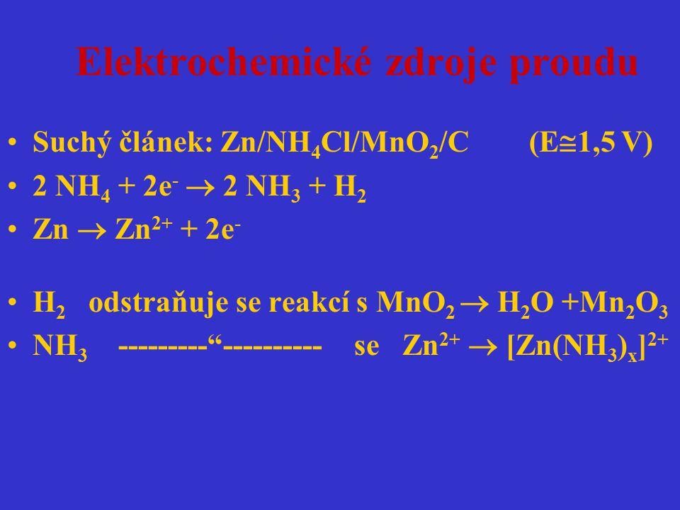 Elektrochemické zdroje proudu Suchý článek: Zn/NH 4 Cl/MnO 2 /C (E  1,5 V) 2 NH 4 + 2e -  2 NH 3 + H 2 Zn  Zn 2+ + 2e - H 2 odstraňuje se reakcí s