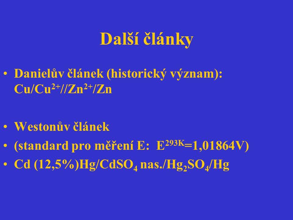 Další články Danielův článek (historický význam): Cu/Cu 2+ //Zn 2+ /Zn Westonův článek (standard pro měření E: E 293K =1,01864V) Cd (12,5%)Hg/CdSO 4 n