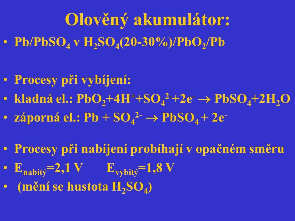 Olověný akumulátor: Pb/PbSO 4 v H 2 SO 4 (20-30%)/PbO 2 /Pb Procesy při vybíjení: kladná el.: PbO 2 +4H + +SO 4 2- +2e -  PbSO 4 +2H 2 O záporná el.: