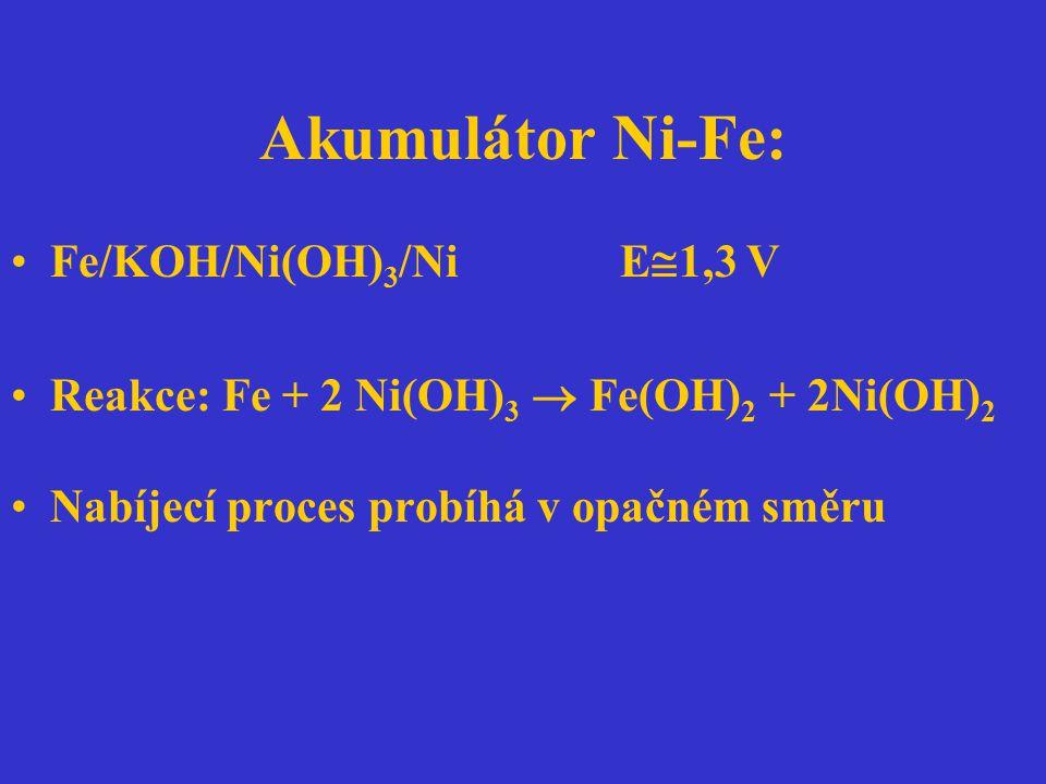 Akumulátor Ni-Fe: Fe/KOH/Ni(OH) 3 /Ni E  1,3 V Reakce: Fe + 2 Ni(OH) 3  Fe(OH) 2 + 2Ni(OH) 2 Nabíjecí proces probíhá v opačném směru