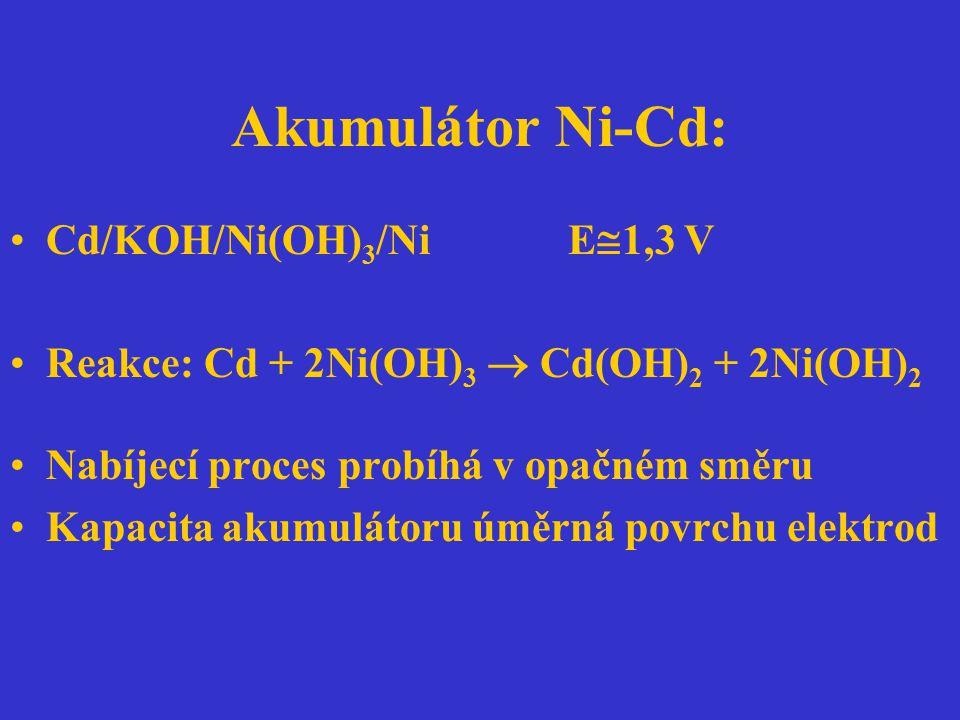 Akumulátor Ni-Cd: Cd/KOH/Ni(OH) 3 /Ni E  1,3 V Reakce: Cd + 2Ni(OH) 3  Cd(OH) 2 + 2Ni(OH) 2 Nabíjecí proces probíhá v opačném směru Kapacita akumulá