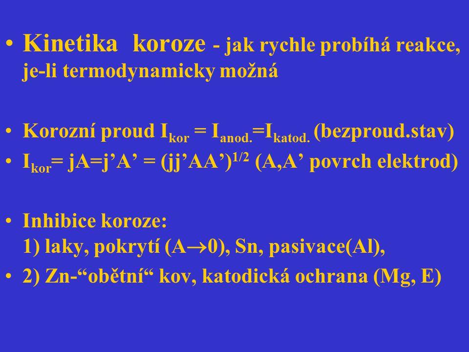 Kinetika koroze - jak rychle probíhá reakce, je-li termodynamicky možná Korozní proud I kor = I anod. =I katod. (bezproud.stav) I kor = jA=j'A' = (jj'