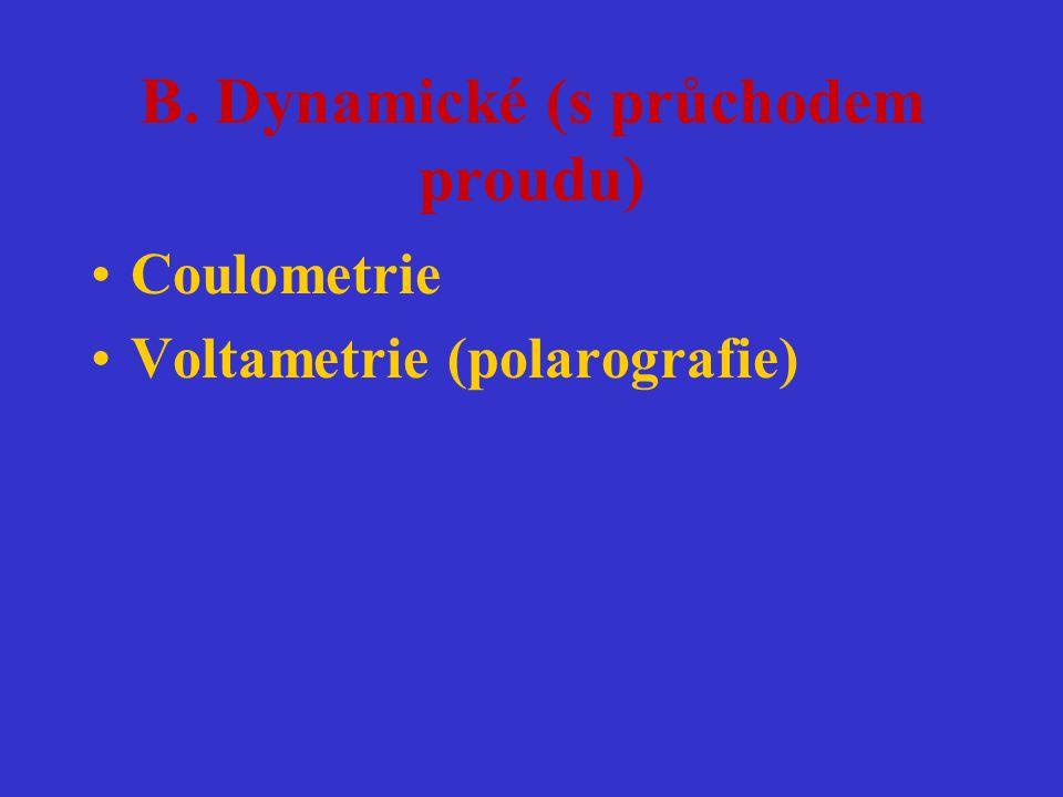 B. Dynamické (s průchodem proudu) Coulometrie Voltametrie (polarografie)