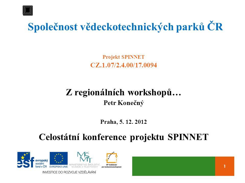 1 Společnost vědeckotechnických parků ČR Projekt SPINNET CZ.1.07/2.4.00/17.0094 Z regionálních workshopů… Petr Konečný Praha, 5.