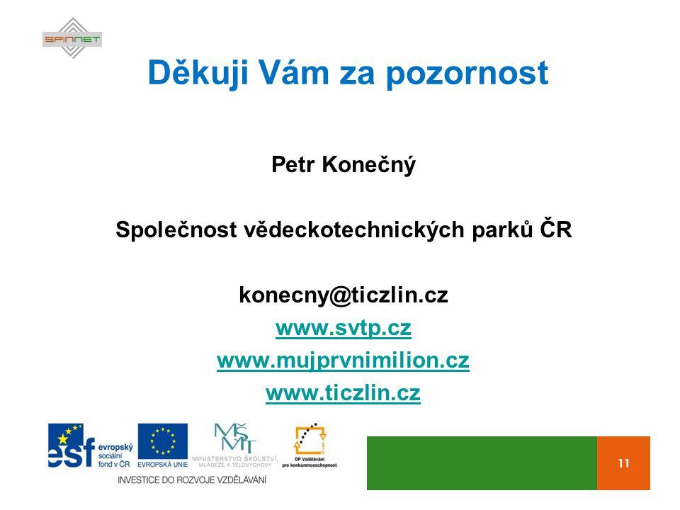 11 Děkuji Vám za pozornost Petr Konečný Společnost vědeckotechnických parků ČR konecny@ticzlin.cz www.svtp.cz www.mujprvnimilion.cz www.ticzlin.cz