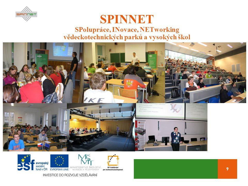9 SPINNET SPolupráce, INovace, NETworking vědeckotechnických parků a vysokých škol