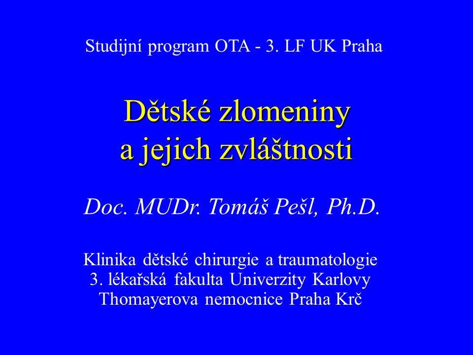 Dětská skeletální traumatologie 1.Vlastní zlomeniny rostoucího skeletu 2.