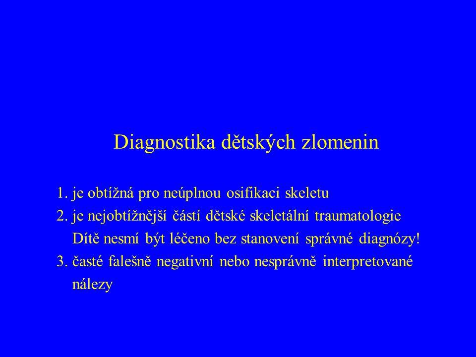 Diagnostika dětských zlomenin 1.je obtížná pro neúplnou osifikaci skeletu 2.