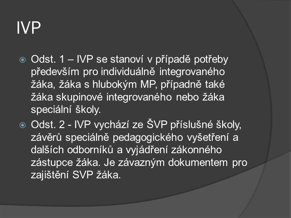 IVP  Odst. 1 – IVP se stanoví v případě potřeby především pro individuálně integrovaného žáka, žáka s hlubokým MP, případně také žáka skupinové integ
