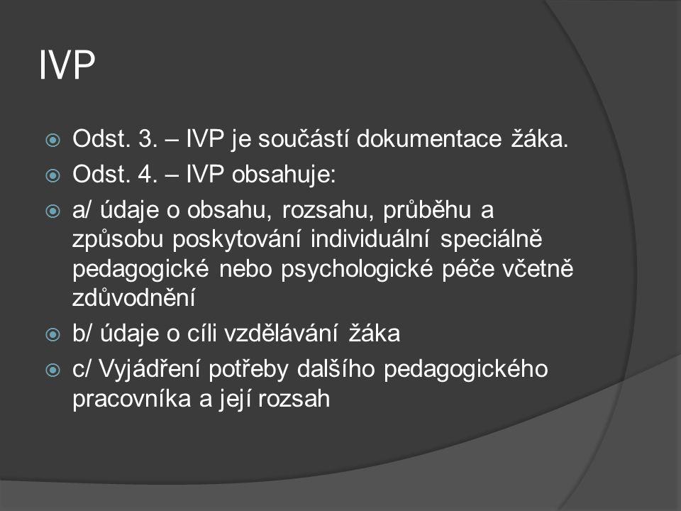 IVP  Odst. 3. – IVP je součástí dokumentace žáka.  Odst. 4. – IVP obsahuje:  a/ údaje o obsahu, rozsahu, průběhu a způsobu poskytování individuální